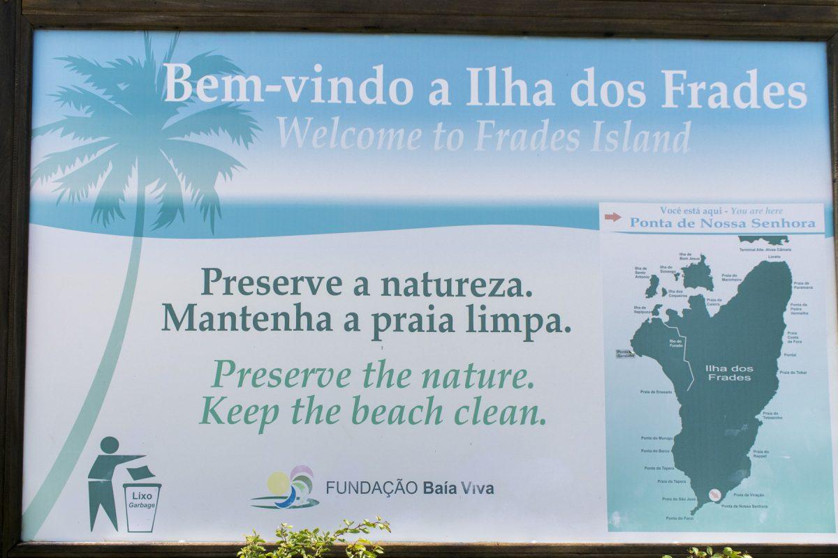 Schild Ilha dos Frades «Ponta de Nossa Senhora»